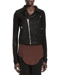 Rick Owens Stooges Knit-Panel Leather Jacket - Lyst