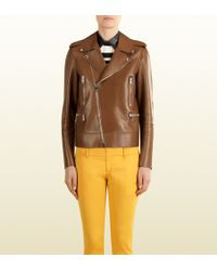 Gucci Brown Leather Biker Jacket - Lyst