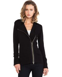 Autumn Cashmere Knit Motorcycle Jacket - Black