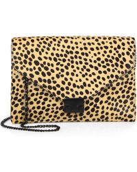Loeffler Randall Cheetah-Print Calf Hair Lock Clutch - Lyst