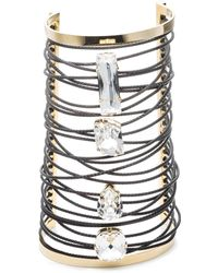 Alexis Bittar Large Cable Wrapped Crystal Cuff gold - Lyst