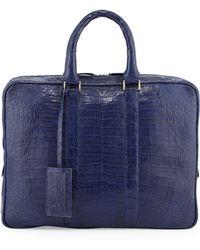 Santiago Gonzalez Crocodile Compartment Skinny Briefcase - Blue