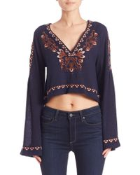 Free People | High Times Embroidered Crop Top | Lyst