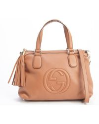 Gucci Cognac Leather 'Soho' Convertible Top Handle Bag - Lyst