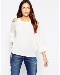Wal-G - Top With Cold Shoulder And Frill Sleeve - Lyst