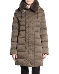 Elie Tahari Fur-Collar Puffer Coat - Lyst