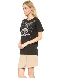Carven Embroidered Tshirt Black - Lyst