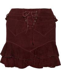 Isabel Marant Elea Stretchsuede Mini Skirt - Lyst
