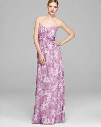 Amsale - Gown - Strapless Chiffon Banded Waist - Lyst
