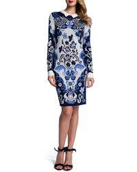 Cynthia Steffe Ribbed-trim Baroque Long-sleeve Sheath Dress - Lyst
