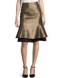Carolina Herrera Metallic Layered Tulip Skirt gold - Lyst