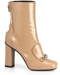 Gucci Lilian Patent-Leather Horsebit Ankle Boots - Lyst