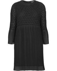 Topshop Womens Chiffon Diamond Pleat Dress  Black - Lyst
