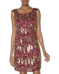 Notte By Marchesa Sleeveless Beaded Shift Dress - Lyst