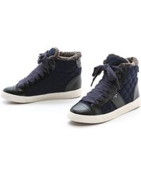 Tory Burch Oliver Flannel High Top Sneakers  Charcoalalmond - Lyst