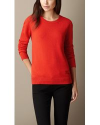 Burberry Cashmere-Cotton Sweater red - Lyst