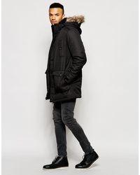 Jack & Jones Core Parka With Faux Fur Hood - Black