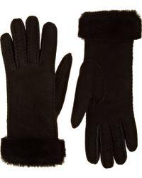 Barneys New York Foldover Cuff Shearling Gloves - Lyst