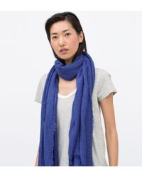 Zara Basic Structured Colour Scarf blue - Lyst