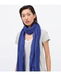 Zara Basic Structured Colour Scarf blue - Lyst