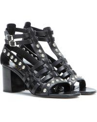 Saint Laurent Embellished Leather Sandals - Lyst