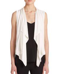 BCBGMAXAZRIA Ryland Draped Jersey Vest white - Lyst