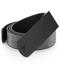 Giuseppe Zanotti Studded Leather Plaque Belt - Lyst