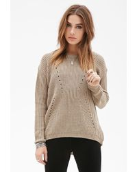 Forever 21 Textured Open-Knit Sweater - Lyst