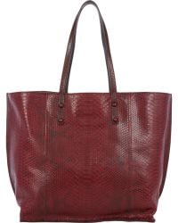 Zagliani Python & Leather Reversible Tote red - Lyst