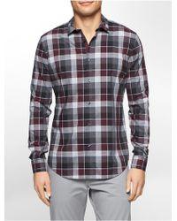 CALVIN KLEIN 205W39NYC - White Label Classic Fit End On End Tartan Plaid Liquid Cotton Shirt - Lyst