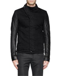 DRKSHDW by Rick Owens Asymmetric Placket Leather Sleeve Denim Jacket - Lyst