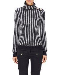 Balmain Mixed Knit Turtleneck Sweater - Lyst
