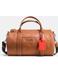 COACH Small Barrel Bag In Saddle Dot Embossed Leather - Brown