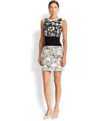 Oscar de la Renta Floral Wool Day Dress - Lyst
