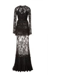 Elie Saab Long Sleeve Lace and Silk Georgette Gown - Lyst