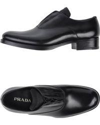 Prada Black Lace-Up Shoes - Lyst