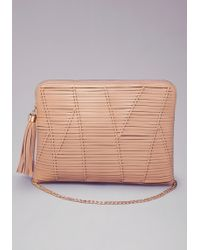 Bebe Evie Knotted Clutch - Natural