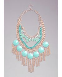 Bebe Bauble Fringe Necklace - Green