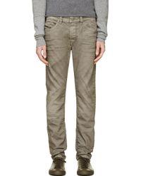 Diesel Grey Distressed Thavar Jeans - Lyst