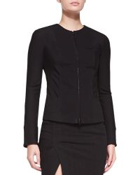 Donna Karan New York Collarless Zip-Front Jacket - Lyst