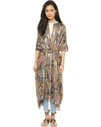 Mes Demoiselles Lumiere Long Wrap Robe - Sunset Print - Multicolor