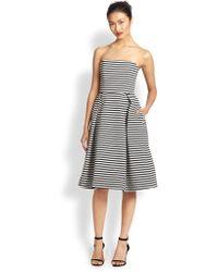 Nicholas Strapless Striped Ponte Dress - Lyst