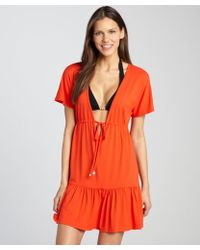 Shoshanna Persimmon Jersey Tie Waist Dress Coverup - Lyst
