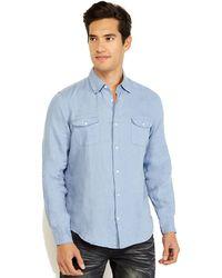 Vince Blue Linen Sport Shirt - Lyst