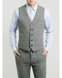 Topman Grey Geometric Texture Skinny Suit Waistcoat - Lyst