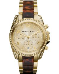 Michael Kors Women'S Chronograph Blair Tortoise And Gold-Tone Stainless Steel Bracelet Watch 39Mm Mk6094 - Lyst