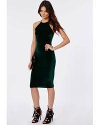 Missguided Freda Velvet Strappy Midi Dress Deep Green - Lyst
