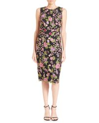 Badgley Mischka | Embroidered Floral Lace Sheath Dress | Lyst