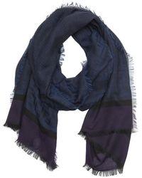 Fendi Purple Stretch Cotton Zucca Jacquard Fringed Scarf - Lyst
