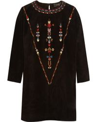 Isabel Marant Maggy Embroidered Suede Mini Dress - Lyst